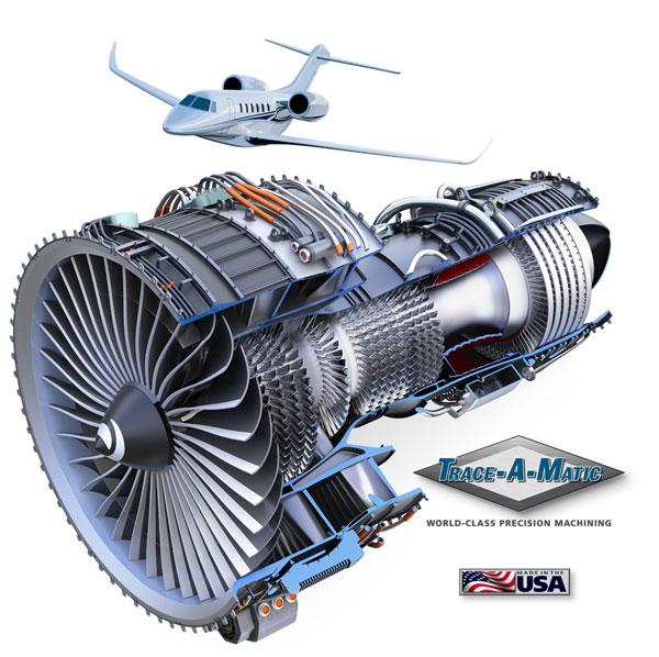 Jet Engine and Gas Turbine Mechanical Cutaway