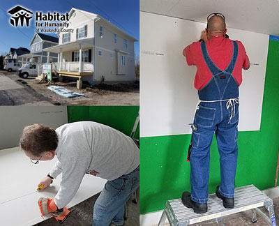 Installing Drywall at a Habitat for Humanity Waukesha Project Home